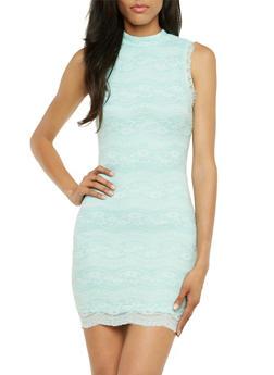 Crochet Bodycon Dress with Mock Neck - 3410035040689