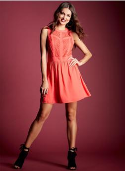 Sleeveless Crochet Dress with Chiffon Paneling - 3410035040834