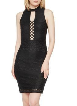 Lace Midi Dress with Crisscross Detail - 3410035041790