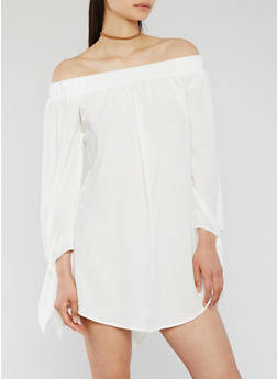 Solid Off the Shoulder Dress with Tie Sleeves - WHITE - 3410035047160