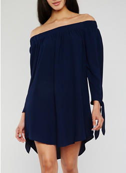 Solid Off the Shoulder Dress with Tie Sleeves - 3410035047160