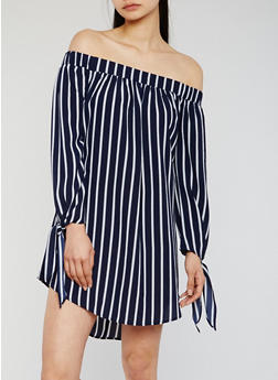 Striped Off the Shoulder Dress with Tie Sleeves - 3410035047161