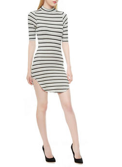 Striped Rib-Knit Mock Turtleneck Bodycon Dress With Short Sleeves,BLACK/WHITE,medium