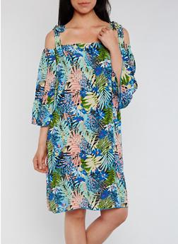 Tropical Print Cold Shoulder Shift Dress - 3410054210556