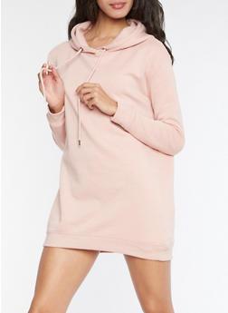 Hooded Sweatshirt Dress - PINK - 3410054211068
