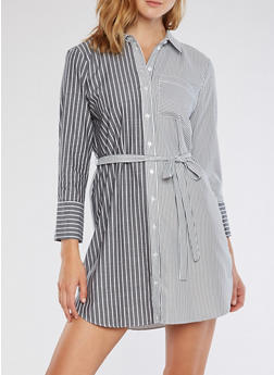 Striped Button Front Shirt Dress - 3410054211075