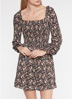 Floral Print Peasant Dress - 3410054212103