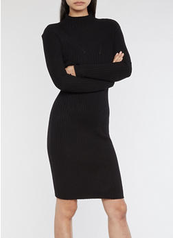Rib Knit Turtle Neck Sweater Dress - BLACK - 3410054212811