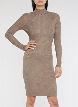 Rib Knit Turtle Neck Sweater Dress - 3410054212811