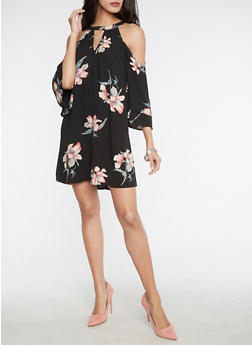 Floral Cold Shoulder Swing Dress - 3410054213101