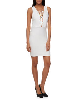 Ribbed Dress with Lace-Up Neckline - 3410054215264
