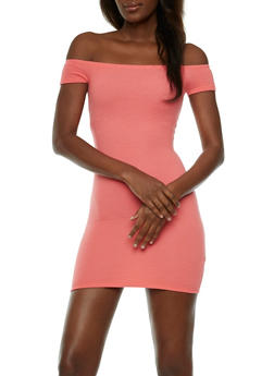 Textured Knit Off the Shoulder Dress - 3410054215357