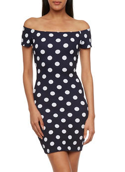 Off-the-Shoulder Mini Bodycon Dress with Polka Dot Print - 3410054215365