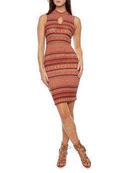 Knit Mini Dress in Aztec Print - 3410054215428