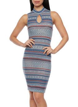 Sleeveless Dress in Aztec Print - 3410054215428