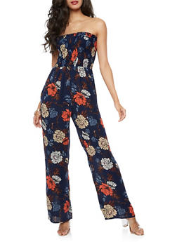 Smocked Neck Printed Jumpsuit - 3410054215502
