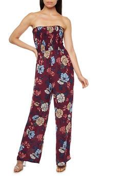 Smocked Neck Printed Jumpsuit - 3410054215502