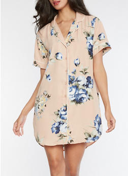 Short Sleeve Floral Button Front Dress - 3410054215524