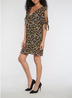 Cold Shoulder Floral Print Dress - 3410054215573