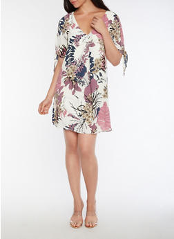 Floral Tie Sleeve Shift Dress - 3410054215574