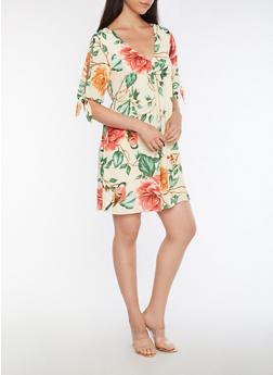 Cold Shoulder Floral Printed Dress - 3410054215575