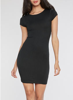 Rib Knit Plunging Lace Up Back Bodycon Dress - 3410054215578
