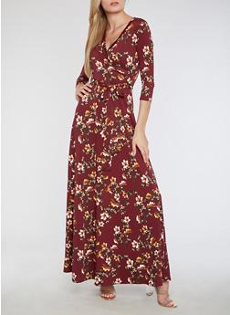 Faux Wrap Floral Maxi Dress - 3410054263497