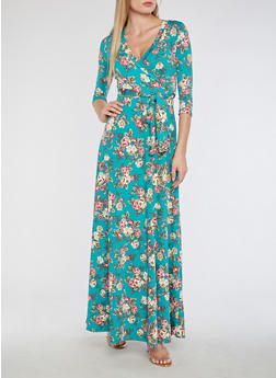 Floral Faux Wrap Maxi Dress - 3410054264892