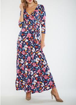 Floral Faux Wrap Maxi Dress - 3410054264892