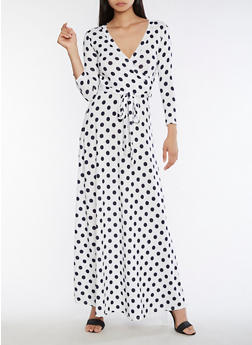 Polka Dot Faux Wrap Maxi Dress - 3410054269740