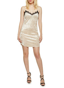 Crushed Velvet Slip Dress with Lace Trim - 3410058601431