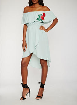 Off the Shoulder Embroidered High Low Dress - 3410058601548