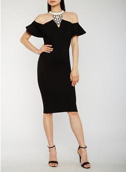 Off the Shoulder Studded Halter Neck Dress - 3410058601594