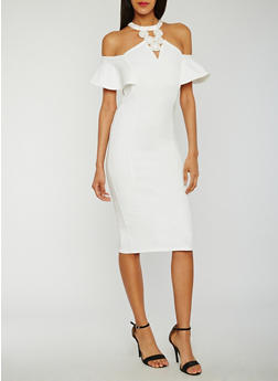 Off the Shoulder Studded Halter Neck Dress - OFF WHITE - 3410058601594