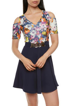 Belted Cold Shoulder Fit-And-Flare Dress with Floral Print - 3410058602041
