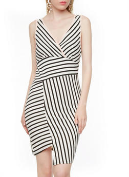 Mixed Stripe Surplice Bodycon Dress With Split Hem,BLACK/WHITE,medium