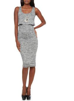 Marled Rib-Knit Overlay Sleeveless Midi Dress With Removable Necklace,BLACK,medium