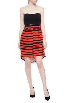 Textured Strapless High-Low Dress with Removable Skinny Bow Belt,RED,medium