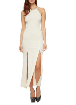 Textured Maxi-Dress With Bejeweled Halter Neckline And Front Slits,BUTTER,medium