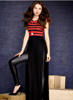 Striped Top Solid Bottom Racerback Maxi Dress,BLACK/RED,medium