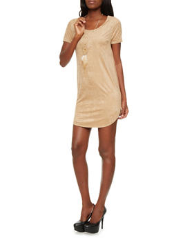 Brushed Faux Suede Short Sleeve Shift Dress With Removable Feather Necklace,CAMEL,medium