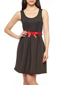Sleeveless Fit-And-Flare Pleated Scuba Dress With Ribbon Belt,BLACK,medium