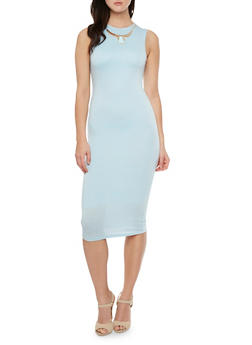 Solid Midi Dress with Removable Gladiator Necklace - 3410058604141