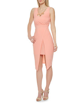 Sleeveless Shift Dress with Necklace - 3410058604275