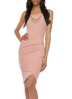 Textural Bodycon Dress with Removable Necklace Accent - 3410058604384