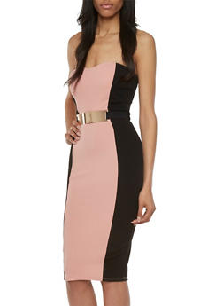 Strapless Color Block Midi Dress with Belt - 3410058604460