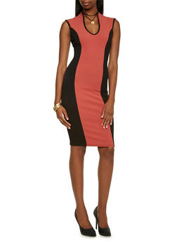 Color Block Midi Dress with Choker Necklace - 3410058604780