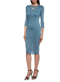 Midi Dress with Gem Necklace - 3410058604953
