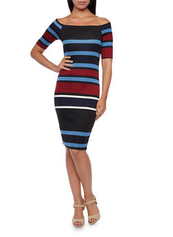 Off The Shoulder Bodycon Dress with Stripes - 3410058604955