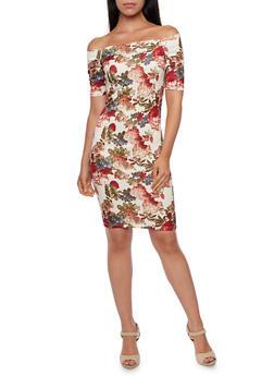 Off the Shoulder Dress in Floral Print - 3410058605004